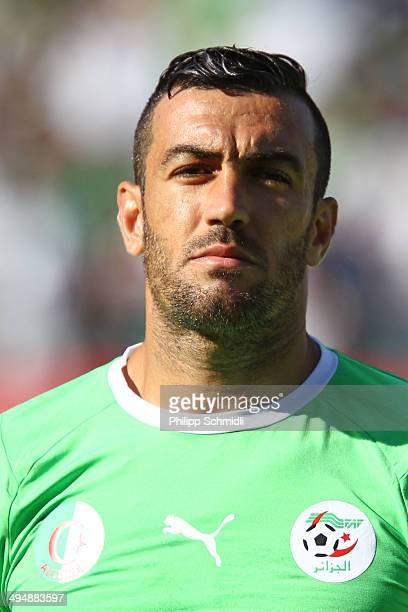 Essaid Belkalem of Algeria lines up during the international friendly match between Algeria and Armenia at Estadio Tourbillon on May 31 2014 in Sion...