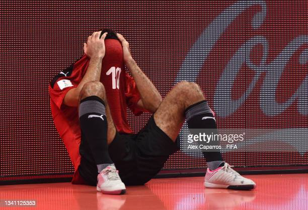 Essam Alla of Egypt looks on during the FIFA Futsal World Cup 2021 group B match between Egypt and Uzbekistan at Vilnius Arena on September 18, 2021...