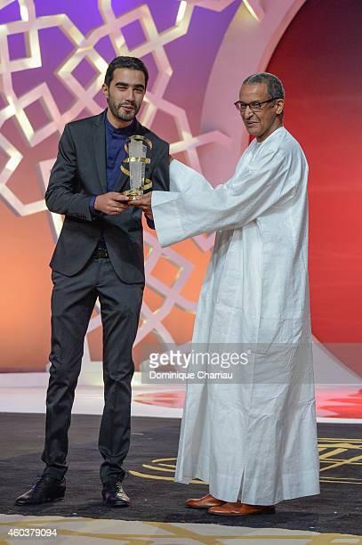 Essam Doukhou awarded Cinecoles Award by Abderrahmane Sissako during the 14th Marrakech International Film Festival on December 12 2014 in Marrakech...