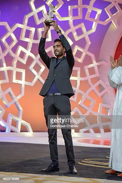 Essam Doukhou awrded Cinecoles Award during the 14th Marrakech International Film Festival on December 12 2014 in Marrakech Morocco