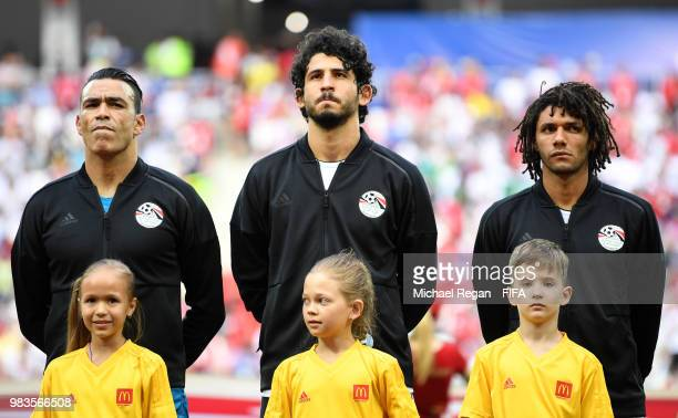 Essam El Hadary of Egypt Ahmed Hegazy of Egypt and Mohamed Elneny of Egypt look on prior to the 2018 FIFA World Cup Russia group A match between...