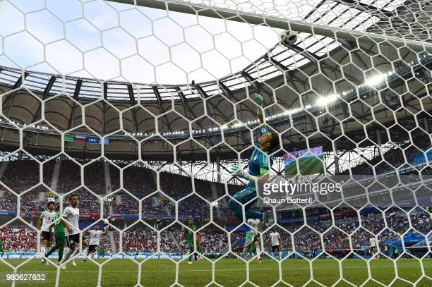 Essam El Hadary of Egypt makes a save during the 2018 FIFA World Cup Russia group A match between Saudia Arabia and Egypt at Volgograd Arena on June...
