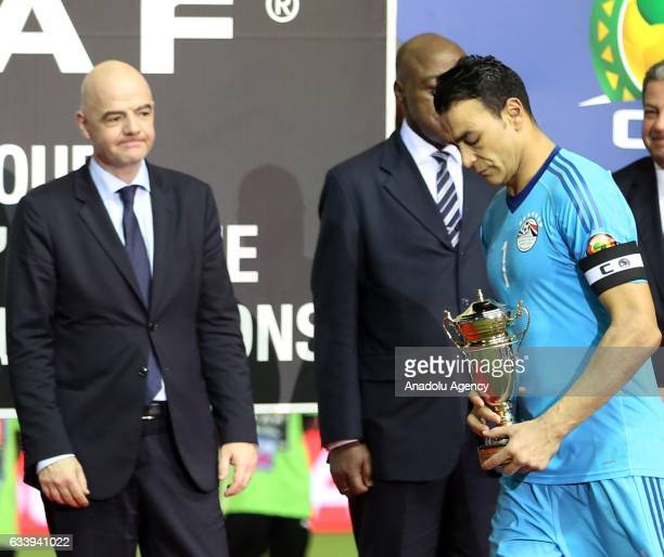 Essam El Hadary of Egypt walks with 2nd prize during the awards ceremony after the final match between Cameroon and Egypt of 2017 Africa Cup of...
