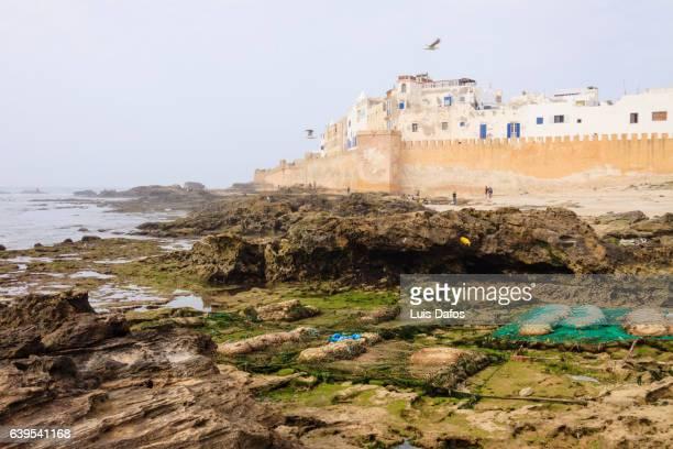 Essaouira medina and reefs in low tide.