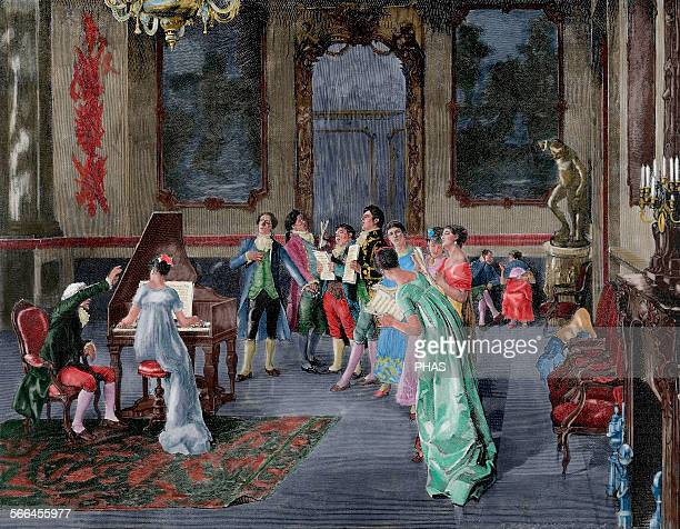 Essay of a Opera Versailles Painting of Luis Jimenez Aranda Spanish painter Engraved by R Brend'Amour 'The Artistic Illustration' 1887 Colored
