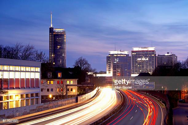 Essen skyline at dusk