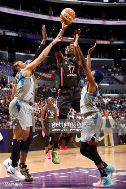 Essence Carson of the Los Angeles Sparks goes to the basket against the Minnesota Lynx on August 2 2018 at STAPLES Center in Los Angeles California...