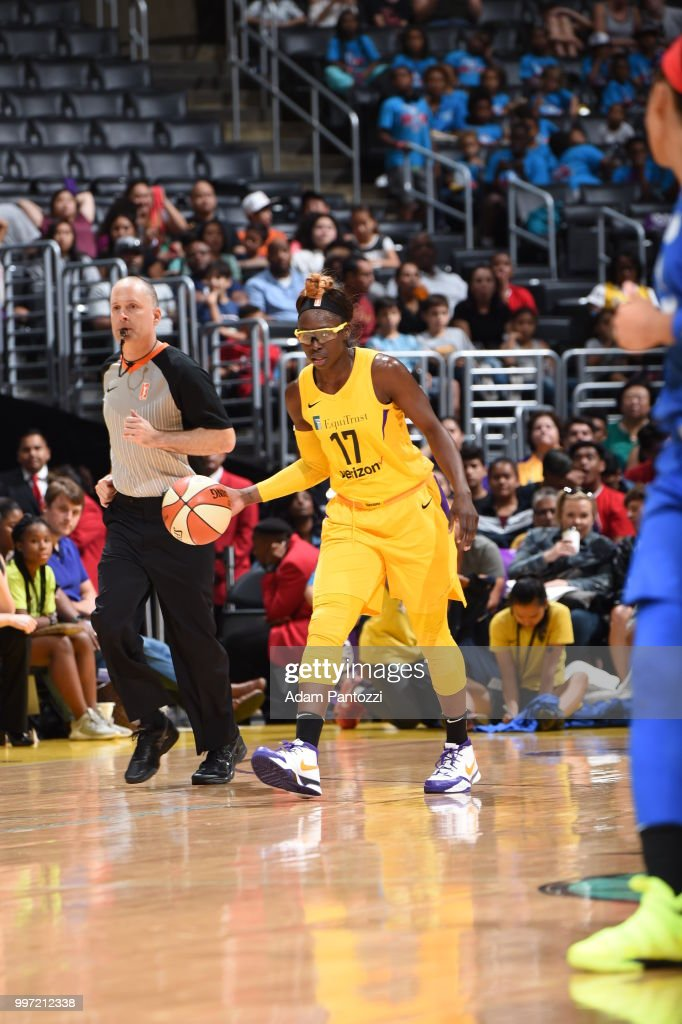 Essence Carson #17 of the Los Angeles Sparks handles the ball against the Dallas Wings on July 12, 2018 at STAPLES Center in Los Angeles, California.