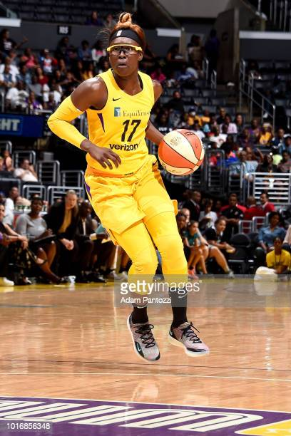 Essence Carson of the Los Angeles Sparks handles the ball during the game against the New York Liberty on August 14 2018 at Staples Center in Los...