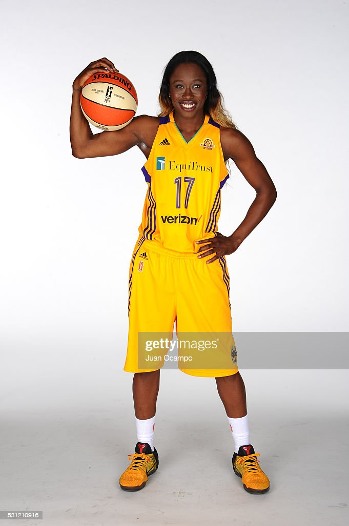 Essence Carson #17 of the Los Angeles Sparks poses for a portrait during the Los Angeles Sparks media day on May 12, 2016 at St. Mary's High School in Inglewood, California.