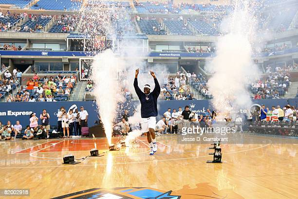 Essence Carson of the New York Liberty is introduced against the Indiana Fever at the 2008 Liberty Outdoor Classic on July 19 2008 at Arthur Ashe...