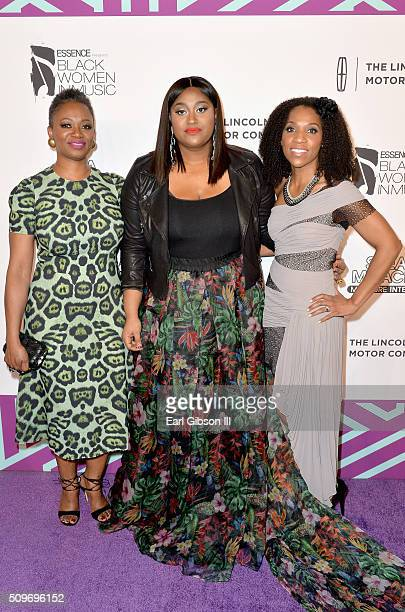 Essence Magazine EditorinChief Vanessa K De Luca recording artist Jazmine Sullivan and Multicultural Marketing Manager for Lincoln Rajoielle Register...