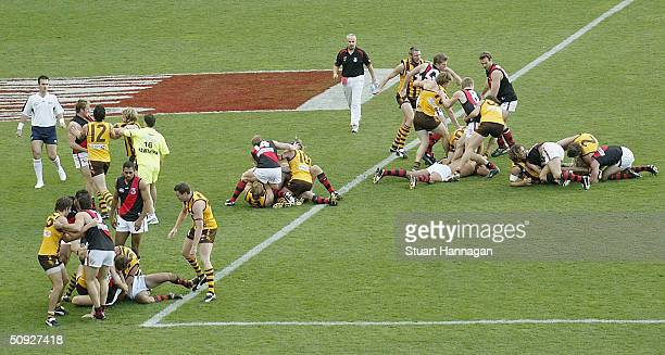 Essendon and Hawthorn players during an all in mellee in the round eleven AFL match between the Hawthorn Hawks and the Essendon Bombers at the...