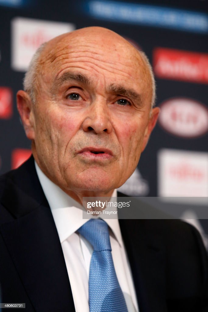 Essendon Bombers AFL Chairman Paul Little speaks to a large media pack at True Value Solar Centre on March 26, 2014 in Melbourne, Australia.