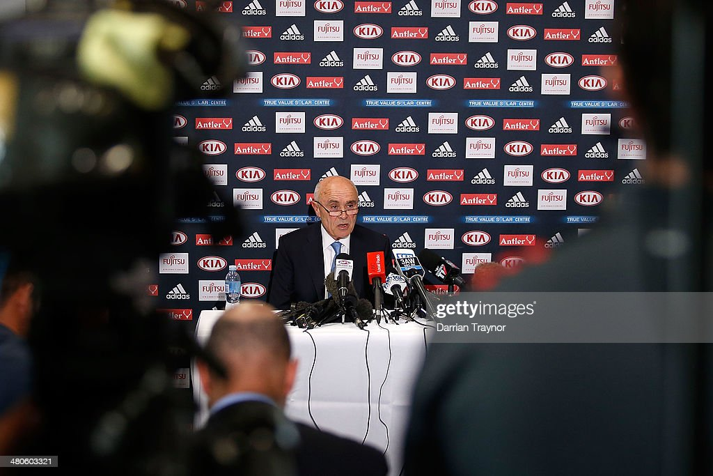 Essendon Bombers AFL Chairman Paul Little speaks to the media at True Value Solar Centre on March 26, 2014 in Melbourne, Australia.