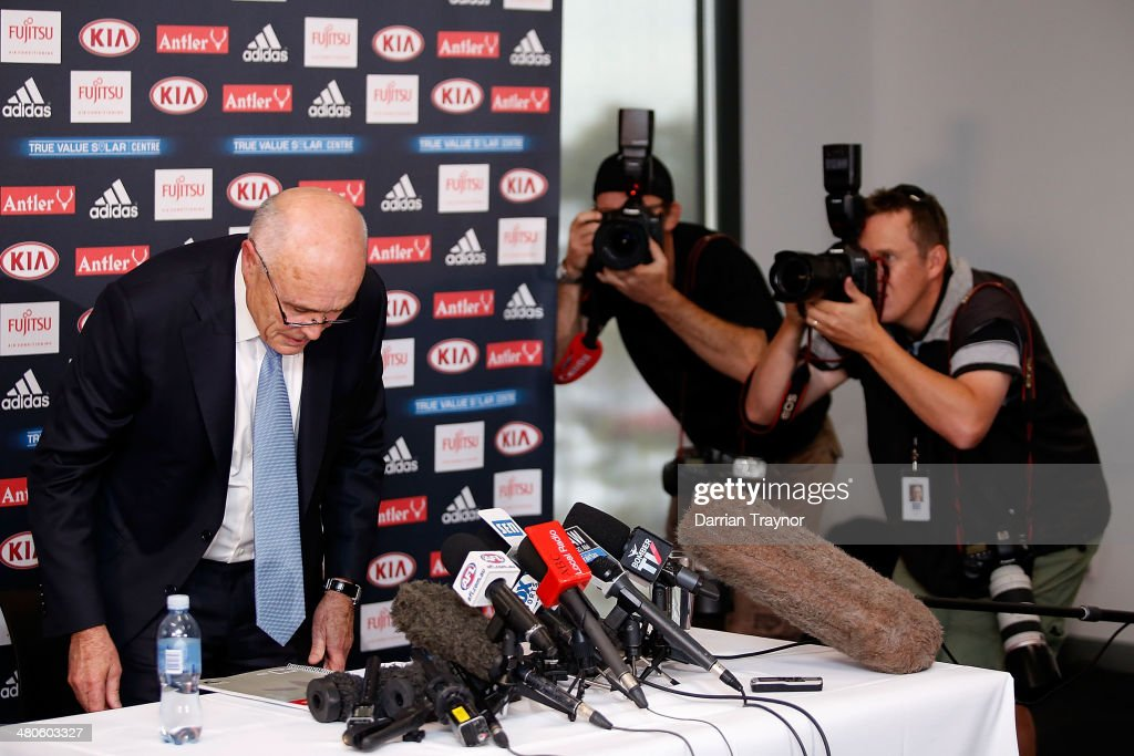 Essendon Bombers AFL Chairman Paul Little takes hi seat before speaking to the media at True Value Solar Centre on March 26, 2014 in Melbourne, Australia.