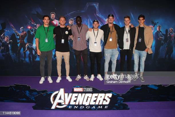 Essendon Bombers AFL players pose ahead of the special screening of Marvel Studios' Avengers Endgame at IMAX Melbourne Museum on April 23 2019 in...