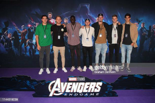 Essendon Bombers AFL players pose ahead of the special screening of Marvel Studios' Avengers: Endgame at IMAX Melbourne Museum on April 23, 2019 in...