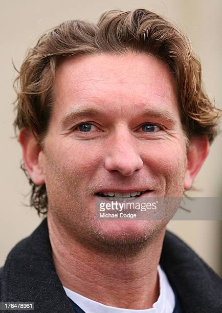 Essendon Bombers coach James Hird speaks to the media at his home in Toorak on August 14 2013 in Melbourne Australia The AFL last night announced...