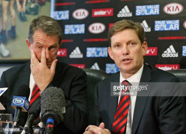 Essendon Chairman David Evans speaks to media representatives as former Essendon Bombers CEO Ian Robson looks on during an Essendon Bombers AFL press...