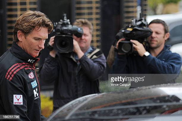 Essendon Coach James Hird leaves a Windy Hill training session to head to Melbourne Airport for the teams flight to Perth on April 11 2013 in...