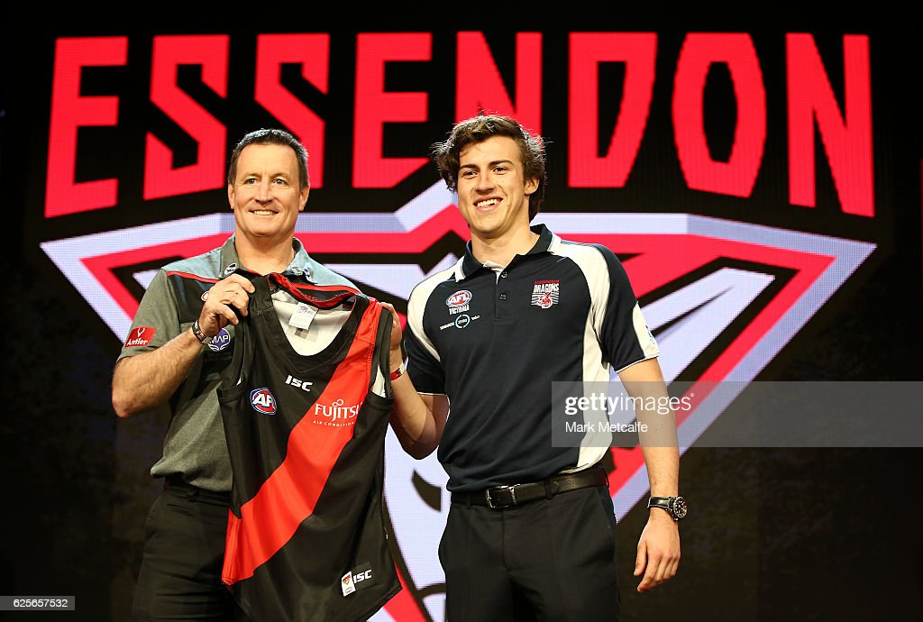 Essendon Football Club head coach John Worsfold poses for a photo with the number one draft pick Andrew Mcgrath of the Essendon Football Club during the 2016 AFL Draft at Hordern Pavilion on November 25, 2016 in Sydney, Australia.