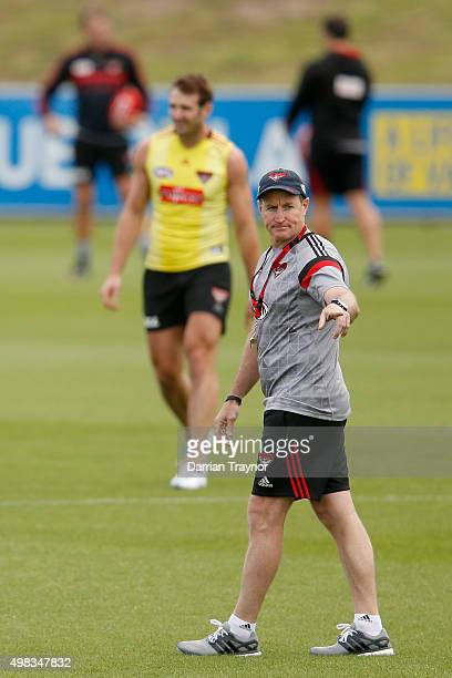 Essendon senior coach John Worsfold gives instructions during an Essendon Bombers AFL preseason training session at True Value Solar Centre on...