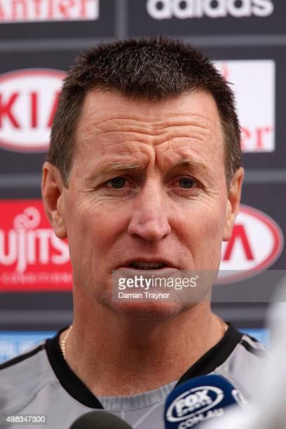 Essendon senior coach John Worsfold speaks to the media before an Essendon Bombers AFL preseason training session at True Value Solar Centre on...