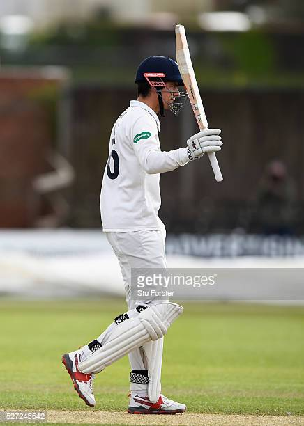 Essex batsman Alastair Cook reaches his century during day two of the Specsavers County Championship Division Two match between Worcestershire and...