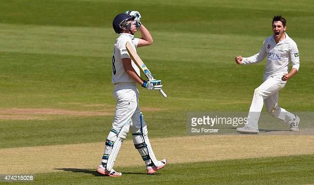 Essex batsman Daniel Lawrence reacts after being dismissed by Glamorgan bowler Andrew Salter who celebrates during day four of the Division Two LV...
