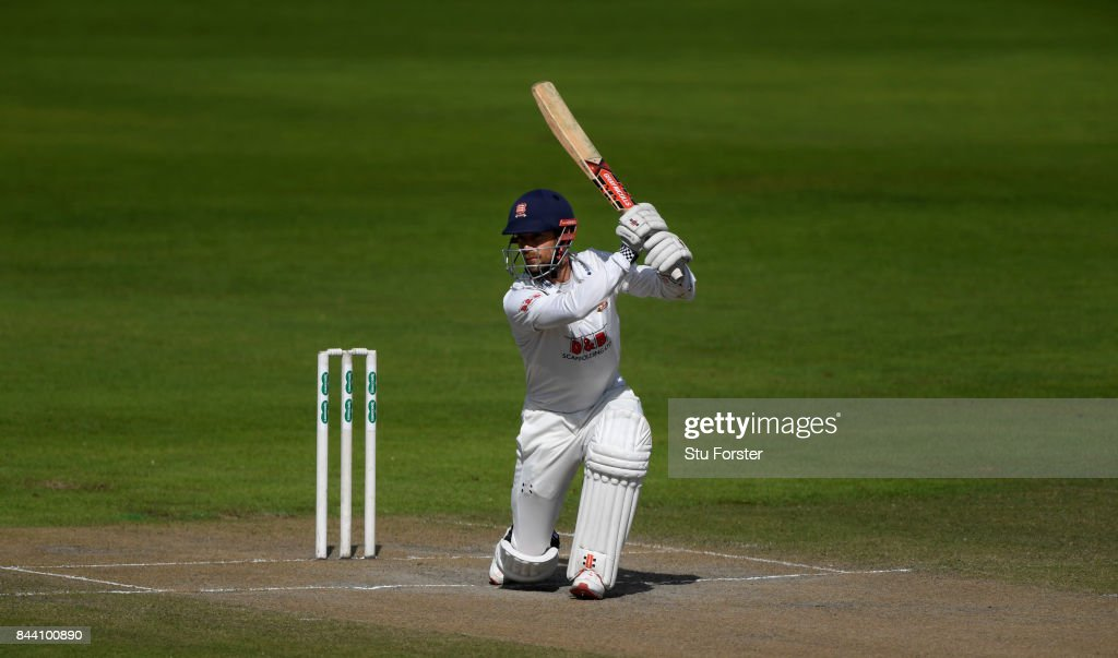 Essex batsman James Foster drives to the boundary during day four of the Specsavers County Championship Division One match between Lancashire and Essex at Old Trafford on September 8, 2017 in Manchester, England.