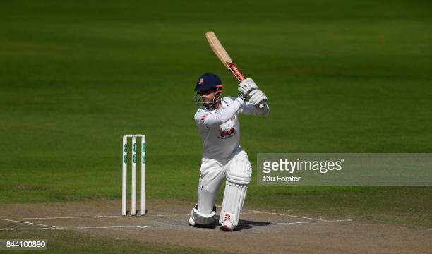Essex batsman James Foster drives to the boundary during day four of the Specsavers County Championship Division One match between Lancashire and...