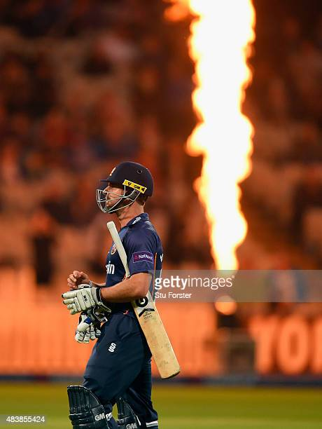 Essex batsman Ryan ten Doeschate leaves the field after being dismissed during the NatWest T20 Blast quarter final match between Birmingham Bears and...