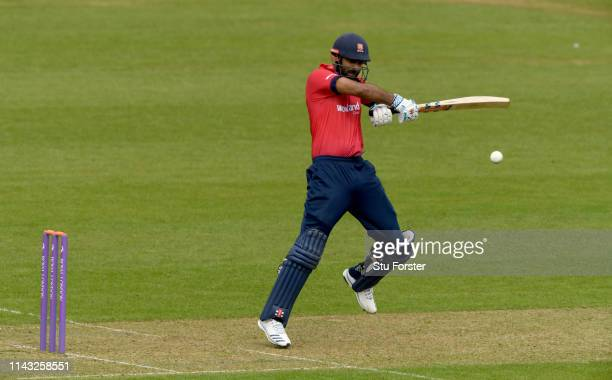 Essex batsman Varun Chopra cuts a ball toi the boundary during the Royal London One Day Cup match between Glamorgan and Essex at Sophia Gardens on...