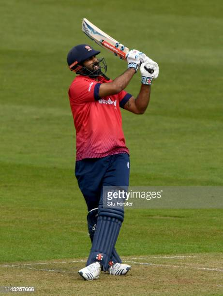 Essex batsman Varun Chopra pulls a ball to the boundary during the Royal London One Day Cup match between Glamorgan and Essex at Sophia Gardens on...