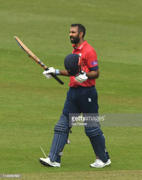 Essex batsman Varun Chopra reaches his century during the Royal London One Day Cup match between Glamorgan and Essex at Sophia Gardens on April 17,...
