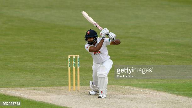 Essex batsman Vaurun Chopra cover drives during day one of the Specsavers County Championship Division One match between Worcestershire and Essex at...