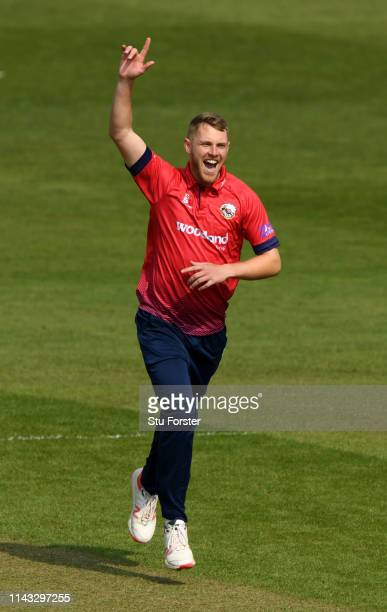 Essex bowler Jamie Porter celebrates after dismissing Charlie Hemphrey during the Royal London One Day Cup match between Glamorgan and Essex at...