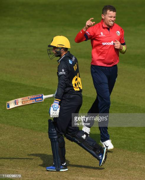 Essex bowler Peter Siddle celebrates after taking the wicket of Billy Root during the Royal London One Day Cup match between Glamorgan and Essex at...