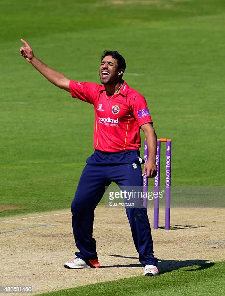 Essex bowler Ravi Bopara celebrates after dismissing Glamorgan batsman Aneurin Donald during his century during the Royal London OneDay cup match...