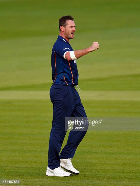 Essex bowler Shaun Tait celebrates a wicket during the NatWest T20 Blast match between Glamorgan and Essex at SWALEC Stadium on May 22 2015 in...