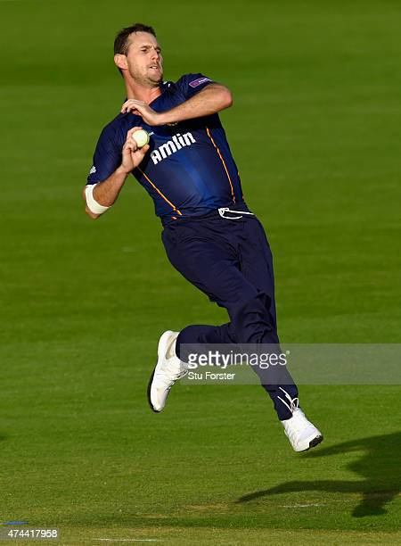 Essex bowler Shaun Tait in action during the NatWest T20 Blast match between Glamorgan and Essex at SWALEC Stadium on May 22 2015 in Cardiff Wales