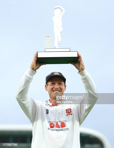 Essex captain Tom Westley lifts the Bob Willis Trophy after Day 5 of the Bob Willis Trophy Final between Somerset and Essex at Lord's Cricket Ground...