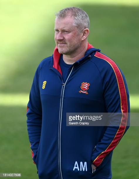 Essex coach Anthony McGrath during the LV= Insurance County Championship match between Warwickshire and Essex at Edgbaston on April 23, 2021 in...