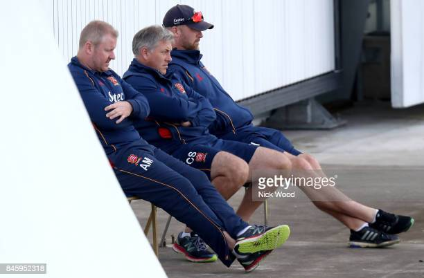 Essex coaching staff watch the match from a high vantage point during the Warwickshire v Essex Specsavers County Championship Division One cricket...
