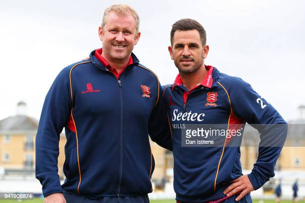 Essex County Cricket Club captain Ryan ten Doeschate poses with Head Coach Anthony McGrath during the Essex CCC Photocall at Cloudfm County Ground on...