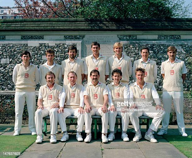 Essex county cricket team, the reigning county champions, prior to their match against the MCC at Lord's cricket ground in London, 23rd April 1987....