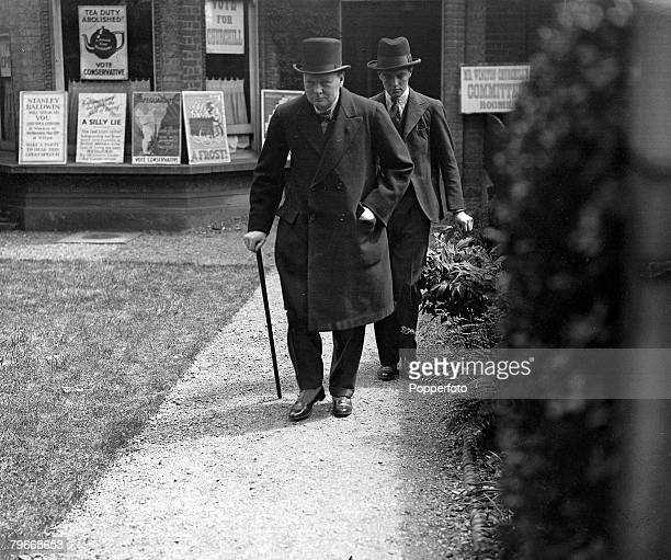 Essex England 31st May Conservative MP Winston Churchill leaves his Epping Conservative constituency office