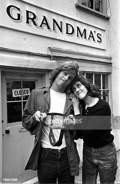 Essex England 5th November 1971 Partick Conrad and his girlfriend Clare Burch display the chastity belt they have just bought from a shop called...