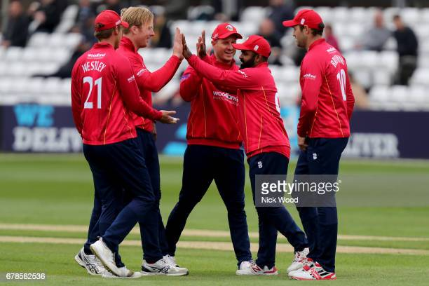 Essex players celebrate taking the wicket of Michael klinger during the Royal London OneDay Cup between Essex Eagles and Gloucestershire at Cloudfm...